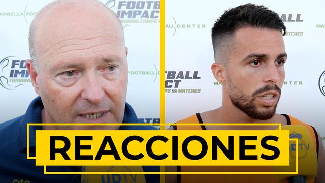 REACCIONES   Nos atiende Pepe Mel y Kirian Rodríguez tras la victoria